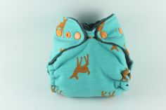 Turquoise Deer Newborn / Small Size Fitted Cloth Diaper with Heavy Organic Bamboo Fleece and Slate Gray Cotton Velour with Pumpkin Snaps by BICKLEBEAR, $18.00  bicklebear.etsy.com