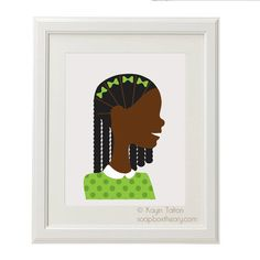 Girl in green with braids  Customized Childrens by soapboxtheory, $12.00: With braids and bows just so, and a green polka dot sweater, this cutie can be personalized with skintone, hair color, and background of your choice.
