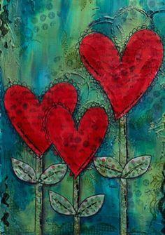 Red Heart flowers bird's eye view of the katydid http://www.birdseyeviewoftheworldofthekatydid.blogspot.com