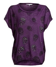 Purple Oversized Diamante Skull Print