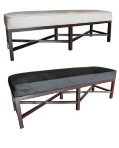 Allissias Attic Design & Vintage French Style — Chantal Rectangle Ottoman in Champagne or Black Velvet $999