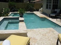 Coral Stone tiles Pool Decks and Stone Pavers: Discover the Benefits of Coral Stone Pool Decks Backyard Pool Designs, Patio Design, House Design, Waterline Pool Tile, Pool Decks, Patio Decks, Stone Deck, Cheap Pool, Pools