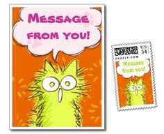 Meooooow! Postcard & Postage ! #Cat #Orange #Postcard #Stamps #postage #Meow #Zazzle