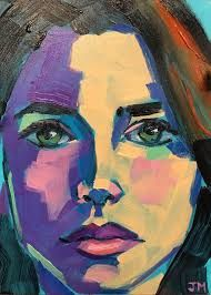 watercolour portrait facial planes abstract batik - Google Search