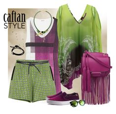 """""""Green Caftan Style"""" by ysmn-pan ❤ liked on Polyvore"""