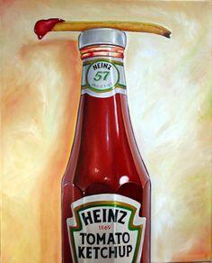 ketchup heinz - by Vic Vicini Hyperrealism, Photorealism, Hyper Realistic Paintings, Watermelon Art, Food Artists, Food Painting, Incredible Edibles, Food Drawing, High Art