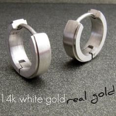 14k Real White Gold Mens Earrings Hoop Huggie For Guys Edgeline Design Medium