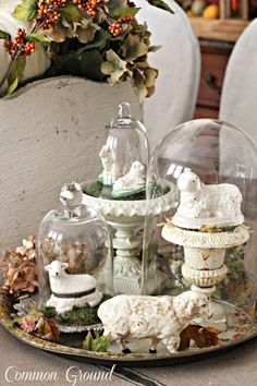 shabby rustic decor home Rustic French, French Decor, French Country Decorating, Seasonal Decor, Fall Decor, Holiday Decor, Cloche Decor, The Bell Jar, Bell Jars