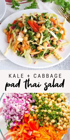 Healthy Salad Recipes 92181 This healthy kale and cabbage pad thai salad has all the flavors of pad thai in salad form! It is my take on the Sweet and Spicy Kale Pad Thai from Whole Foods. Made with a delicious peanut dressing! Healthy Salad Recipes, Paleo Recipes, Asian Recipes, Whole Food Recipes, Dinner Recipes, Healthy Lunches, Healthy Summer Recipes, Vegan Recipes Healthy Clean Eating, Raw Vegan Dinners