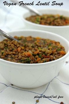 Another Music in a Different Kitchen - plant-based, oil-free, guilt-free recipes, tips and inspiration. French Lentil Soup, Vegan Lentil Soup, French Lentils, Lentil Soup Recipes, Vegan Soups, Vegan Dinner Recipes, Vegan Dinners, Whole Food Recipes, Diet Recipes