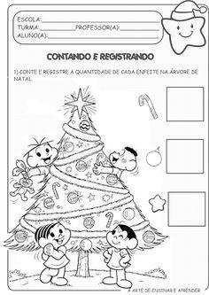 Atividade pronta quantidade tema natal Christmas Activities For Kids, Kids Christmas, Playing Cards, Education, Math, Games, School, Kids Rooms, 1