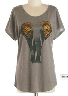 In love with this t-shirt! Elephant with butterfly ears, so cute!