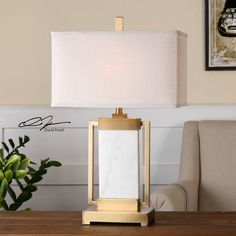 "Marnett 28"" H Table Lamp with Rectangular Shade"