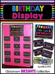 Brighten up your classroom with this BRIGHT Classroom Birthday Display. The months come in two sizes. The name plates are editable! You can simply put the names under each month, or hang the names on ribbon. Another idea is to put student pictures under each month.