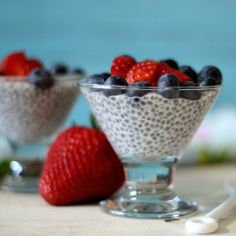 A healthy, vegan, gluten free vanilla flavored pudding made with chia seeds, coconut milk and maple syrup.