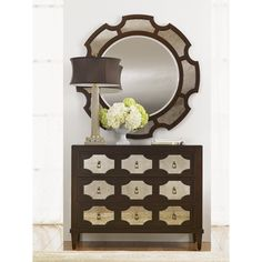 """""""Kensington Place"""" Winslow Mirrored Hall Chest - Lexington Home Brands Kensington Place, Hall Chest, Lexington Furniture, Lexington Home, 3 Drawer Chest, Dresser With Mirror, Furniture Styles, Furniture Ideas, Round Mirrors"""