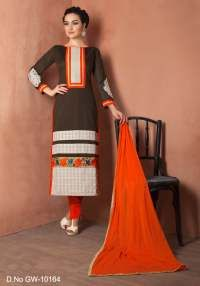 Brown Chanderi Cotton Salwar Dress Material