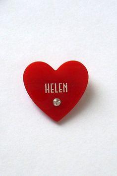 Kitschy Red Plastic Heart HELEN Rhinestone Pin