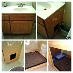 Hidden kitty litter. 1. If you donu0027t use the cabinet under the & Hidden Cat Litter Box Inside Bathroom Vanity Includes Cat Door ... Aboutintivar.Com