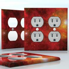 DIY Do It Yourself Home Decor - Easy to apply wall plate wraps | Red Bright Nebula  Orange and red space clouds  wallplate skin sticker for 2 Gang Wall Socket Duplex Receptacle | On SALE now only $4.95