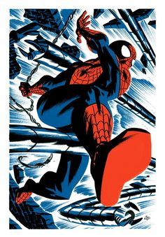Us Boss∆Battle Dudes™  have posted Michael Cho's work before.  He utilizes contrast, limited color (usually 1 or 2) palettes in a relatively cartoony style to dynamic, dazzling effect - and this Spider-Man piece is no different.