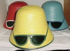 3 Vintage 1960's 70's Straw Sun Hats w Built in Shades NOS Beach Party Movies