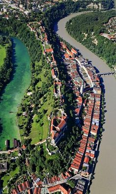 The City and Castle of Burghausen, Bavaria, Germany  (by Aerial Photography)