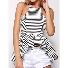 Sexy Scoop Neck Striped Irregular Open Back Sleeveless T-Shirt For Women