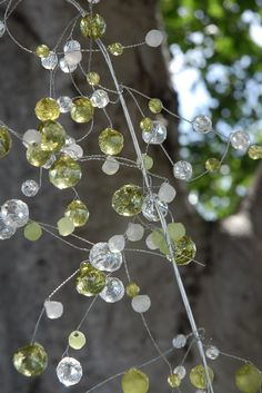 """42""""  Crystal Wired Garland with green clear & frosted beads $7.99 each / 3 for $7 each"""