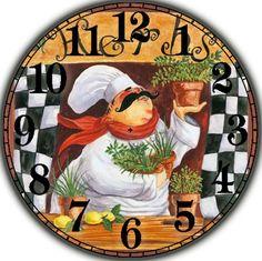Evolution Of The Kitchen Clock - Good Foodi Guide Chef Pictures, Kitchen Pictures, Chef Kitchen Decor, Kitchen Art, Clock Face Printable, Clock Craft, Foto Transfer, Kitchen Clocks, Wall Clock Design