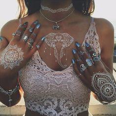 Boho Fashion Summer Outfits - Trending Nails 2017 - Choker Necklace Rings - Lace Crop Top - Elephant Tribal White Flash Metallic Tattoo - MyBodiArt.com