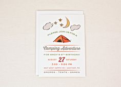 Camping Birthday Party Invitation Outdoor Adventure for boy Invite Digital PDF file