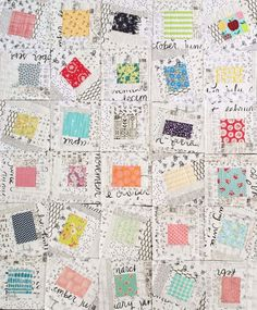 """A quilt as you go quilt from Jera's book """"Quilt-As-You-Go Made Modern"""" work in progress but so beautiful! Love all the low volume prints and dancing center blocks!"""