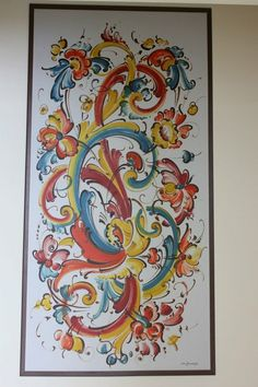 Rosemaling by Sigmund Aarseth (1937-2012). This is one of two 4' x 8' panels painted by Sigmund when he came to Tordenskjold Lodge in Spokane in 1978. While he was here he also taught rosemaling classes.