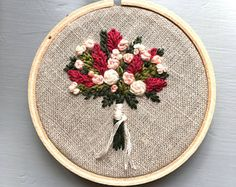 Farmers Market Bouquet No. 7 - Hand Embroidery, Stitched Flowers, Floral Hoop Art, Wildflowers, Needlework, Little Girl Room Decor