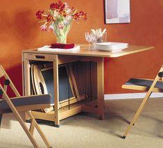 Mesa de comedor abatible con sillas: abierto