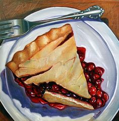Cherry Pie II by Vic Vicini Cake Drawing, Food Drawing, Food N, Food And Drink, Food Art Painting, Edible Art, Food Illustrations, Food Pictures, Deserts