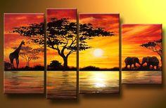 Home Decoration African Elephant Painting Wall Decor Giraffe Sunset Landscape Canvas Painting Multi Panel Handpainted Set(China (Mainland)) Canvas Painting Landscape, Hand Painting Art, Large Painting, Painting Canvas, Painting Walls, Woman Painting, Buy Paintings Online, Online Painting, Buy Art Online