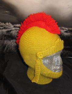 Baby Knitting Patterns Funny Gladiator Helmet Hat Knitting Pattern and more fun knitting patterns Baby Hats Knitting, Baby Knitting Patterns, Knitted Hats, Crochet Patterns, Knit Crochet, Crochet Hats, Novelty Hats, Funny Hats, Crazy Hats