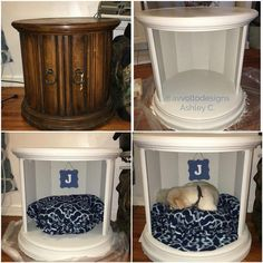 46 ideas diy dog bed end table the doors Dog Furniture, Repurposed Furniture, Furniture Makeover, Furniture Dolly, Furniture Removal, Luxury Furniture, Diy Lit, Dog House Bed, Diy Dog Bed