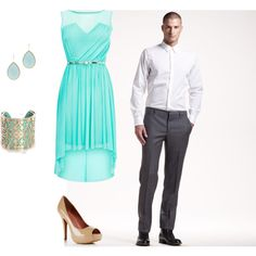 Engagement Outfit - Teal by aeoleinik, via Polyvore