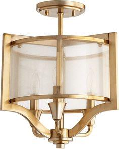 Highline 3-Light Semi Flush Mount Aged Brass