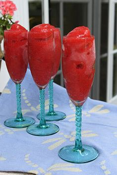Strawberry Slushies   Ingredients:  -  1 16 oz container fresh strawberries, hulled  -  1 750 ml bottle champagne or sparkling wine  -  2 tablespoons honey