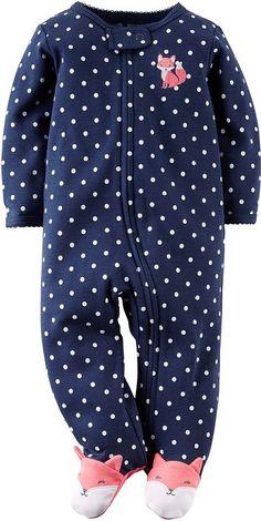 Carters Baby Girls Fox Zip Up Sleep & Play Newborn Navy blue/white