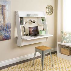 Prepac Studio Floating Desk in White with Yellow Pattern Rug 8 Wall Mounted Desks That Save Room in Small Spaces desk areas 8 Wall-Mounted Desks That Save Room in Small Spaces Small Room Desk, Desks For Small Spaces, Small Rooms, Small Apartments, Desk Space, Space Space, Kid Spaces, Mesa Home Office, Home Office Desks