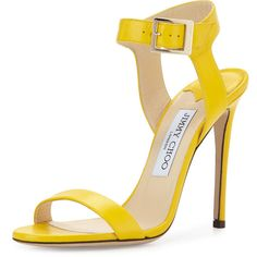 Jimmy Choo Truce Leather Ankle-Wrap 100mm Sandal (13,745 MXN) ❤ liked on Polyvore featuring shoes, sandals, heels, pop yellow, ankle strap high heel sandals, yellow sandals, ankle strap heel sandals, yellow heeled sandals and high heels sandals