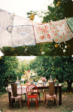 Don't want to cut up your hankies? Hang as decor on a clothes line for your party.
