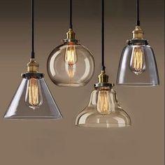 Industrielle pendentif en verre créatif restaurant grenier lumière bar ampoule plafond lustre luminaire Sale - Banggood Mobile