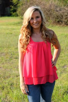 Off the Racks Boutique - Ruffled Around the Edges Tank: Coral, $34.99 (http://www.shopofftheracks.com/ruffled-around-the-edges-tank-coral/)