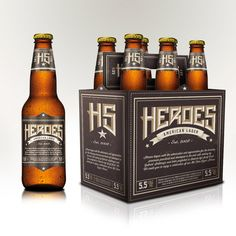 Heroes Lager bottle label design by Nicolas Gomez - Really appreciate the typography on this one.